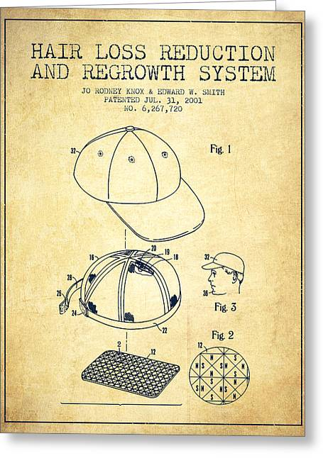 Baseball Art Digital Art Greeting Cards - Hair loss reduction and regrowth system patent - Vintage Greeting Card by Aged Pixel