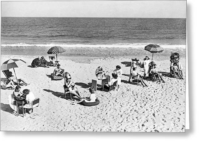 Hair Salon On The Beach Greeting Card by Underwood Archives