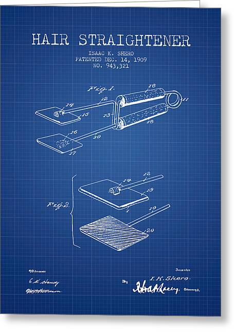 Hair Straightener Patent From 1909 - Blueprint Greeting Card by Aged Pixel