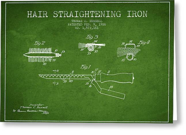 Curling Greeting Cards - Hair Straightening Iron Patent from 1926 - Green Greeting Card by Aged Pixel