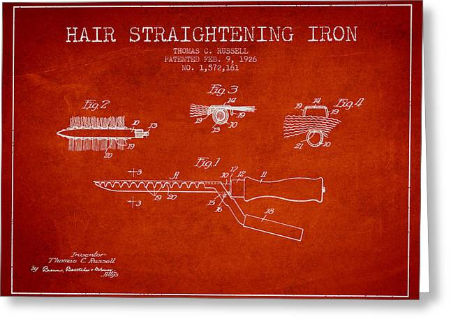 Curling Greeting Cards - Hair Straightening Iron Patent from 1926 - Red Greeting Card by Aged Pixel