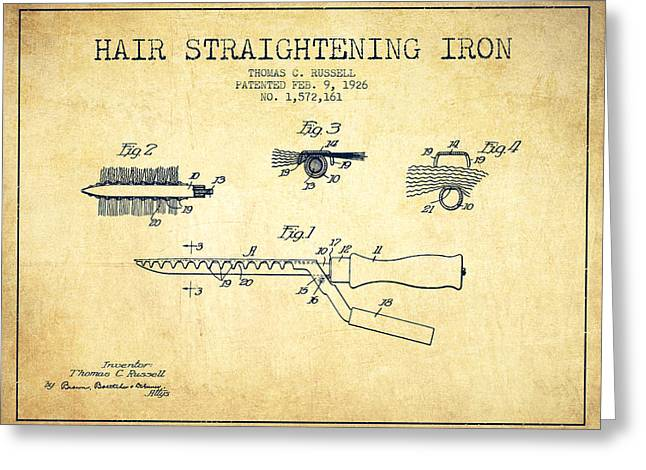 Curling Greeting Cards - Hair Straightening Iron Patent from 1926 - Vintage Greeting Card by Aged Pixel