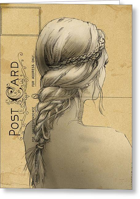 Braiding Greeting Cards - Hair Study Greeting Card by H James Hoff