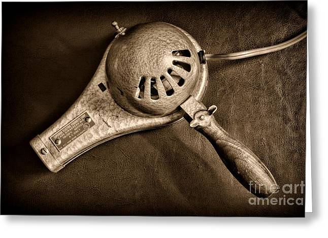Hair Dresser Greeting Cards - Hair Stylist - Vintage Hair Dryer - Black and White Greeting Card by Paul Ward