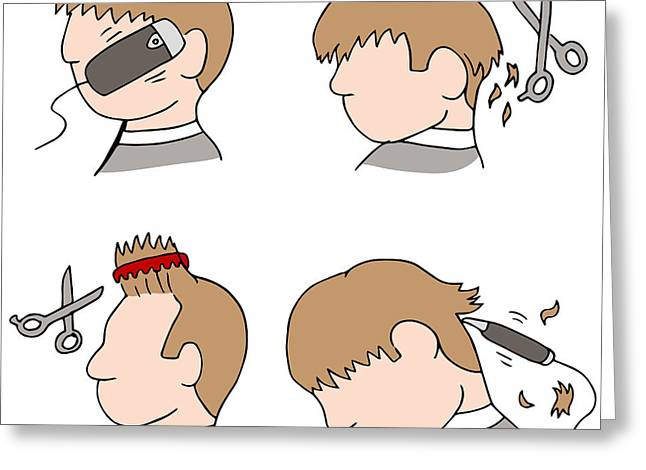 Sideburns Digital Greeting Cards - Haircut Process Greeting Card by John Takai