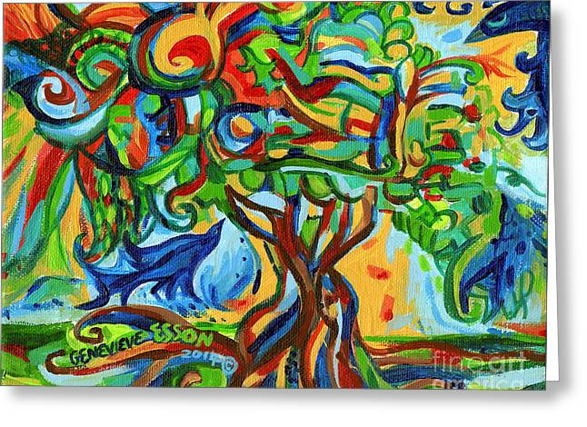 Hairdoodle Tree With Birds Greeting Card by Genevieve Esson