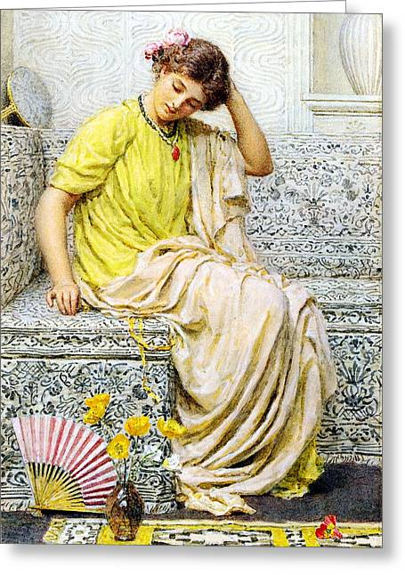 Divan Greeting Cards - Hairpins Greeting Card by Albert Joseph Moore