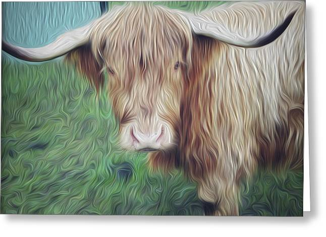 Hairy Cow Greeting Card by Les Cunliffe