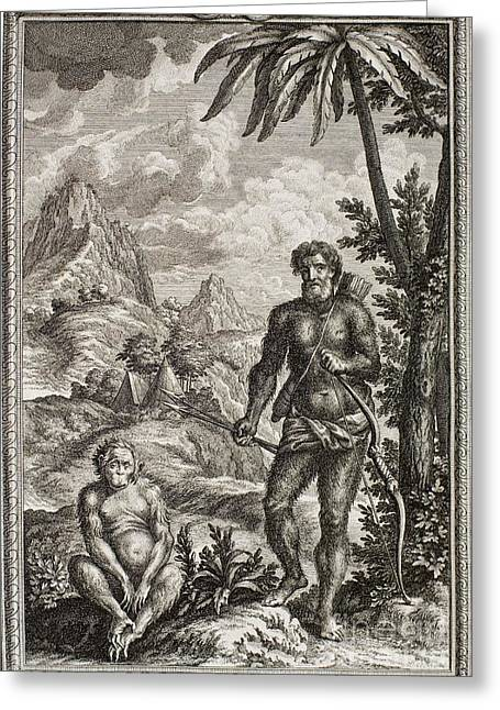 Creationism Greeting Cards - Hairy Esau, Scheuchzer, 1731 Greeting Card by Paul D. Stewart
