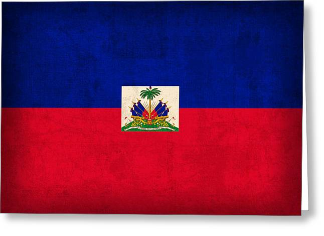 Haiti Greeting Cards - Haiti Flag Vintage Distressed Finish Greeting Card by Design Turnpike