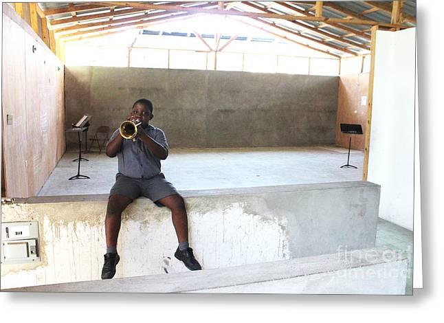 Haitian Boy Plays Trumpet Greeting Card by Jim Wright