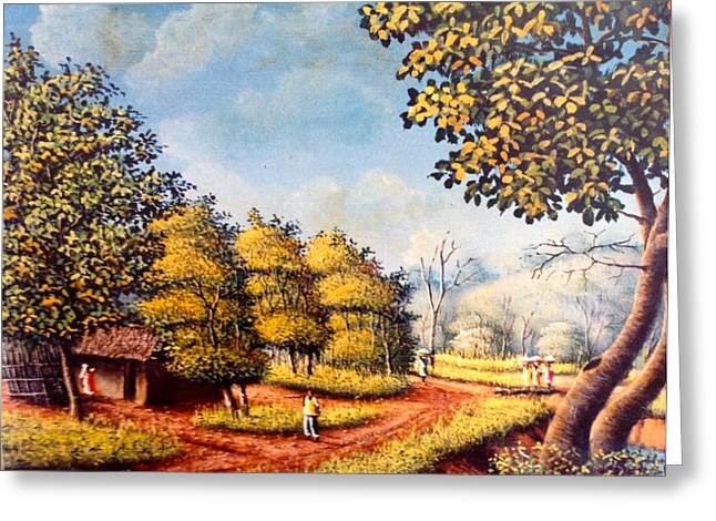 Landscape With A Road Greeting Cards - Haitian scenery. Greeting Card by Haitian artist