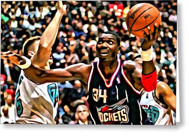 Best Sellers -  - Slamdunk Greeting Cards - Hakeem Olajuwon Greeting Card by Florian Rodarte