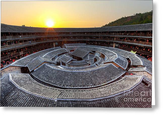 Old Home Place Greeting Cards - Hakka Tulou traditional Chinese housing at sunset Greeting Card by Fototrav Print