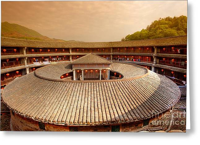 Old Home Place Greeting Cards - Hakka Tulou traditional Chinese housing at sunset Fujian China Greeting Card by Fototrav Print