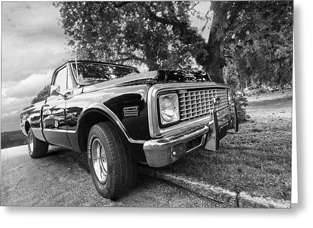 Chevy Pickup Greeting Cards - Halcyon Days - 1971 Chevy Pickup BW Greeting Card by Gill Billington