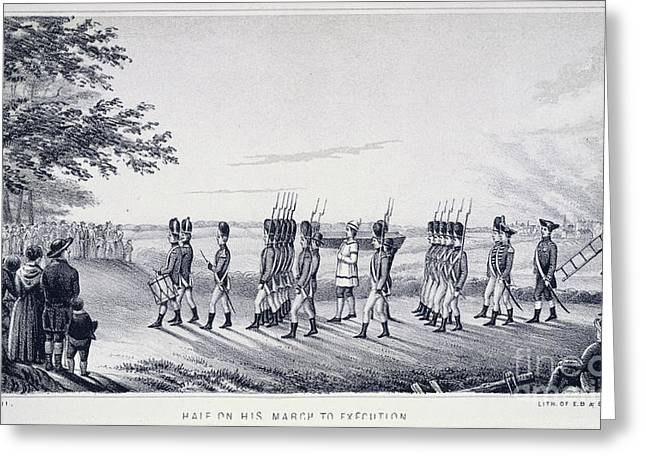 American Independance Greeting Cards - Hale On His Way To Execution Greeting Card by British Library