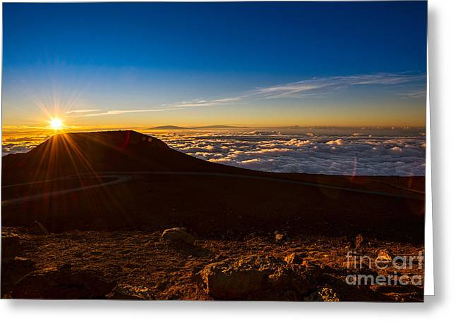 Above The Clouds Greeting Cards - Haleakala Burst Greeting Card by Jamie Pham