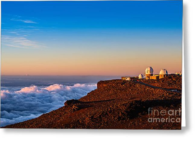 Above The Clouds Greeting Cards - Haleakala Observatory at Sunrise in Maui. Greeting Card by Jamie Pham