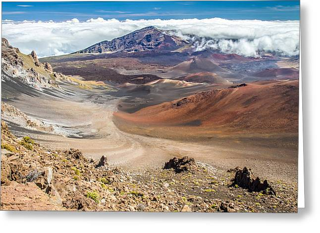 Haleakala Greeting Cards - Haleakala volcano crater Greeting Card by Pierre Leclerc Photography