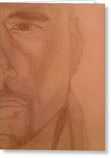 African American Men Drawings Greeting Cards - Half Aman 2 Greeting Card by Erica  Darknell