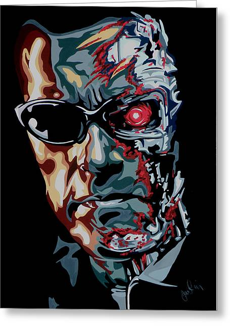 The Terminator Greeting Cards - Half Arnold Greeting Card by Ian  King