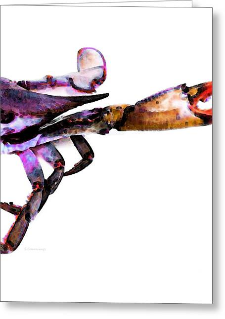 Art Online Greeting Cards - Half Crab - The Right Side Greeting Card by Sharon Cummings