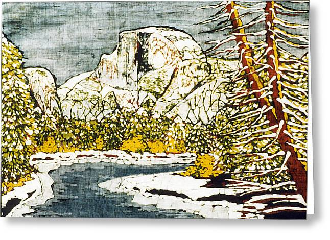 Lady Tapestries - Textiles Greeting Cards - Half Dome Greeting Card by Alexandra  Sanders