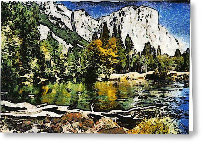 Autumn Scenes Digital Art Greeting Cards - Half Dome At Yosemite Abstract Greeting Card by Barbara Snyder