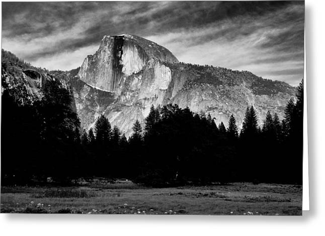 Cloudy Days Greeting Cards - Half Dome Greeting Card by Cat Connor