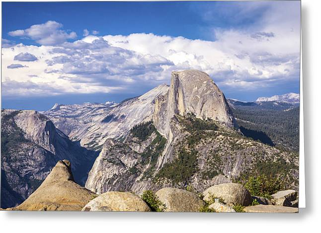 Perfect Storm Greeting Cards - Half Dome from Glacier Point Greeting Card by Joseph S Giacalone