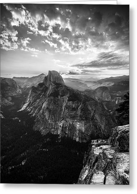 Mike Lee Greeting Cards - Half Dome in Black and White Greeting Card by Mike Lee