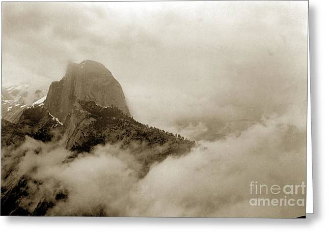 From The Dome Greeting Cards - Half Dome in the Clouds and Clouds Rest from Glacier Point trail California circa 1910 Greeting Card by California Views Mr Pat Hathaway Archives