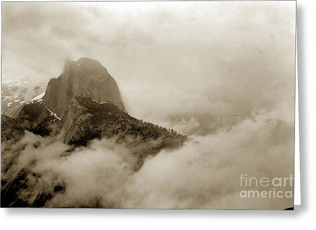 Half Dome In The Clouds And Clouds Rest From Glacier Point Trail California Circa 1910 Greeting Card by California Views Mr Pat Hathaway Archives