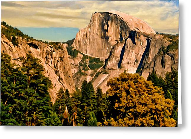 Ebay Greeting Cards - Half Dome Painting Greeting Card by  Bob and Nadine Johnston