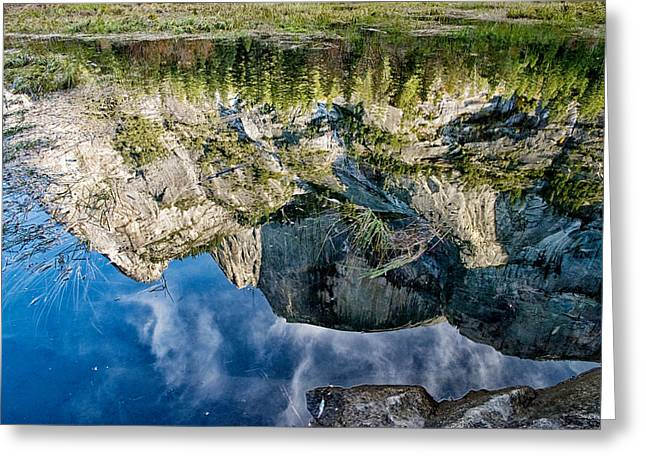 Yosemite Creek Greeting Cards - Half Dome Reflection Greeting Card by Cat Connor