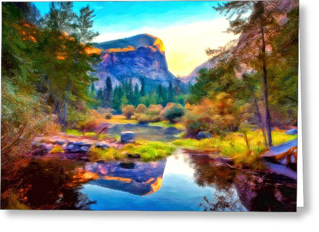 Monolith Greeting Cards - Half Dome Reflection Greeting Card by Michael Pickett