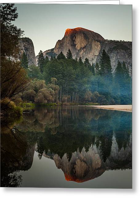 Domes Greeting Cards - Half Dome Reflection Greeting Card by Thorsten Scheuermann