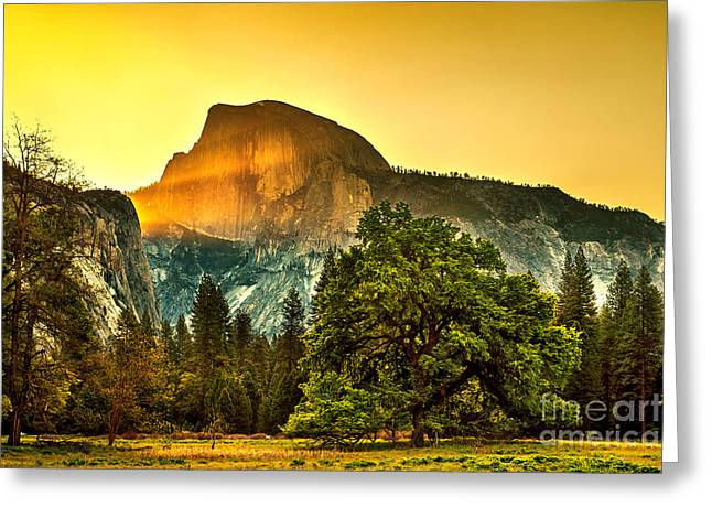 Dome Light Greeting Cards - Half Dome Sunrise Greeting Card by Az Jackson