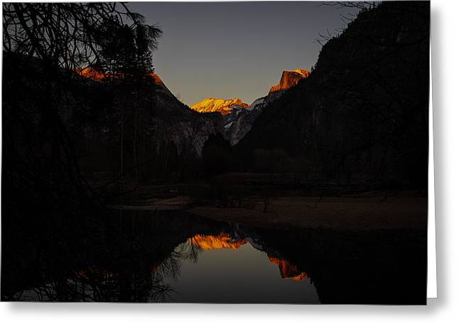 Mariposa County Greeting Cards - Half Dome Sunset Reflection Greeting Card by Scott McGuire