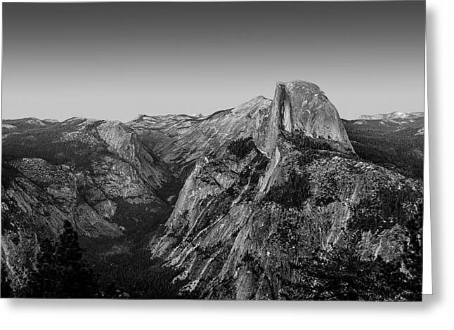 Dome Greeting Cards - Half Dome Twilight - Black and White Greeting Card by Peter Tellone
