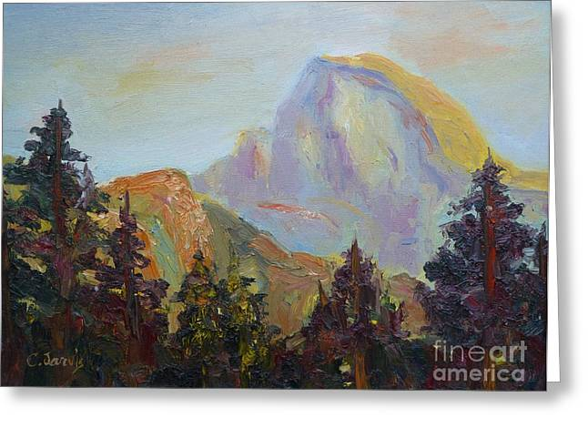 Half Dome Paintings Greeting Cards - Half Dome View Greeting Card by Carolyn Jarvis