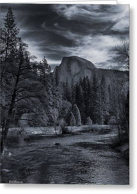 Half Dome Greeting Cards - Half Dome With Clouds Greeting Card by Bill Roberts