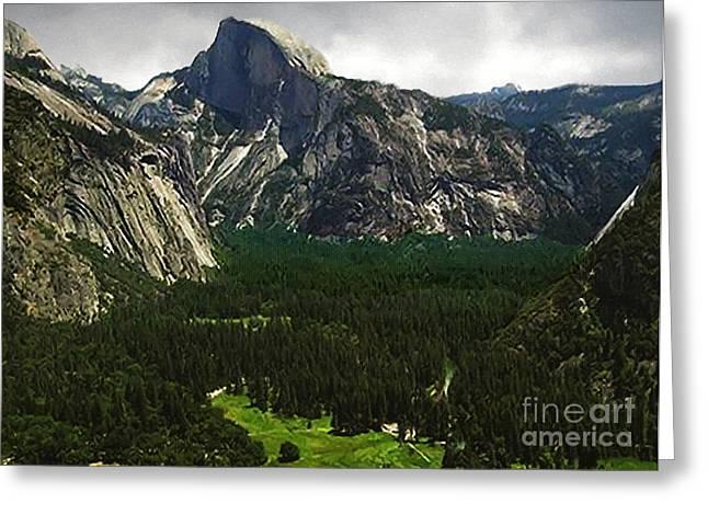 Half Dome Yosemite Np Greeting Card by Bob and Nadine Johnston