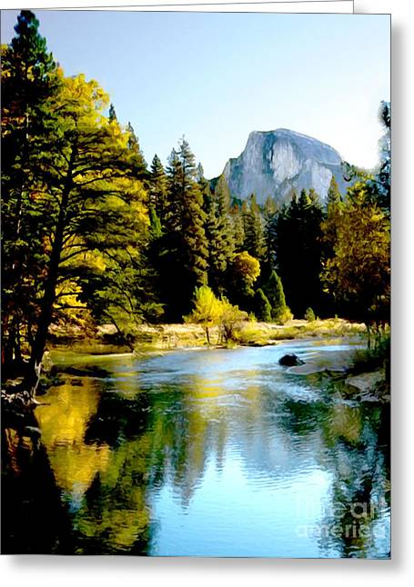 Domes Mixed Media Greeting Cards - Half Dome Yosemite River Valley Greeting Card by  Bob and Nadine Johnston