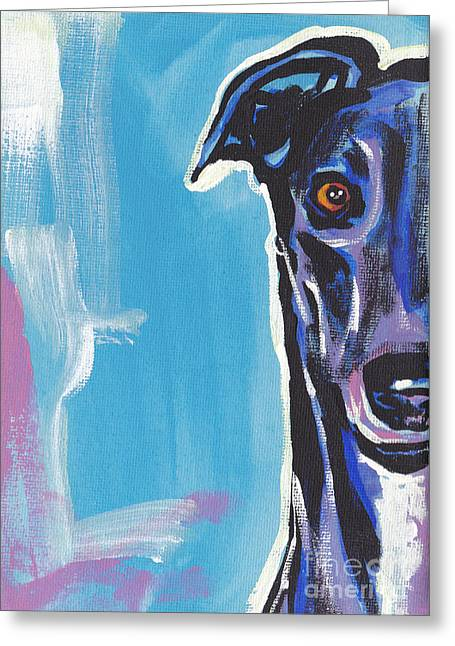 Greyhounds Greeting Cards - Half Grey  Greeting Card by Lea