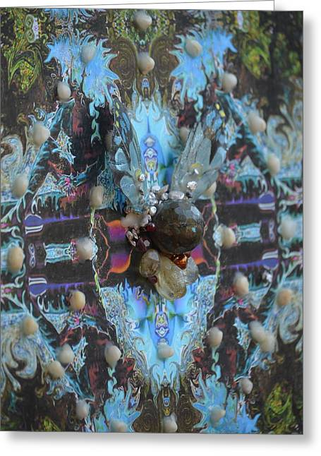 Blue Labradorite Greeting Cards - Half Lord Of The Fishes Grid Greeting Card by Deprise Brescia