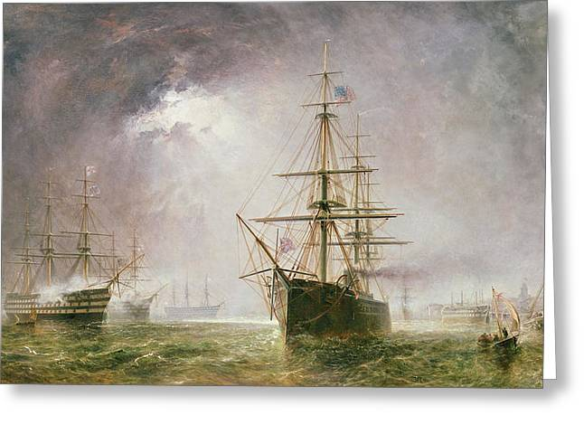 Yachting Greeting Cards - Half Mast High 19th century Greeting Card by  Robert  Dudley