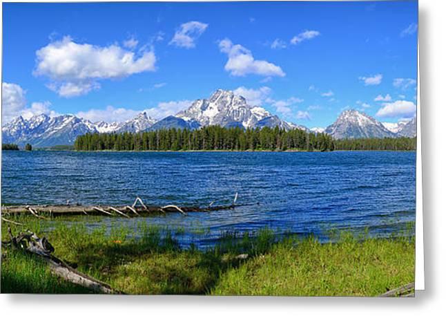 Landscape Art Greeting Cards - Half Moon Bay Teton Panorama Greeting Card by Greg Norrell