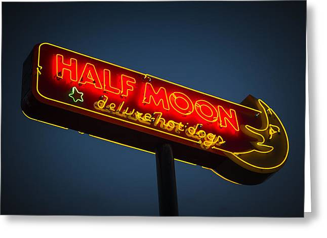 Neon Greeting Cards - Half Moon Greeting Card by Bryan Scott